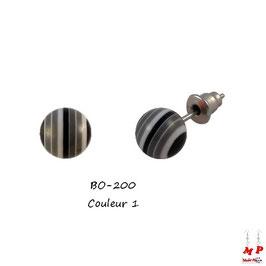 Boucles d'oreilles perles rayées colorées 10mm