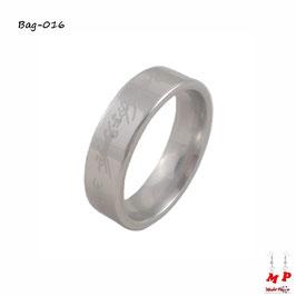 Bague mixte argentée seigneur des anneaux en acier chirurgical
