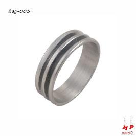 Bague anneau argenté à double bandes noires en acier chirurgical