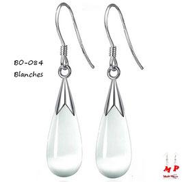 Boucles d'oreilles gouttes d'eau pendantes opale