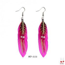 Boucles d'oreilles pendantes plumes fuchsia cheyenne
