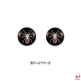 Boucles d'oreilles acier logo araignée blanche