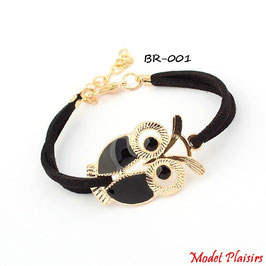 Bracelet hibou doré et simili cuir