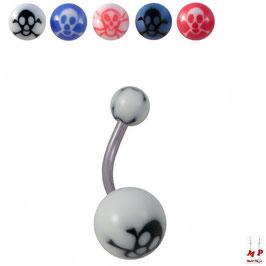 Piercings nombrils à boules acryliques têtes de morts