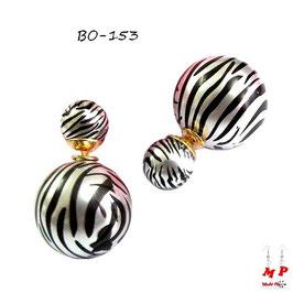 Boucles d'oreilles double perles zébrées