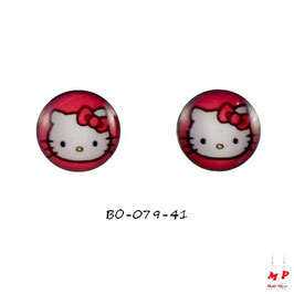 Boucles d'oreilles acier logo Hello Kitty