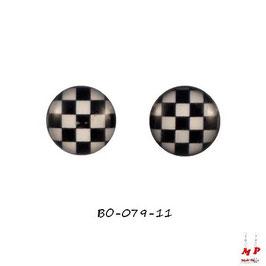 Boucles d'oreilles acier logo échiquier noir et blanc
