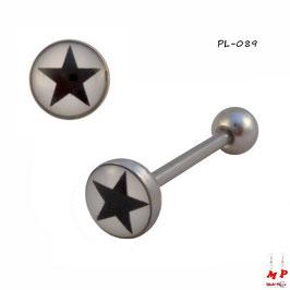Piercing langue logo à étoile noire et blanche en acier chirurgical