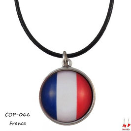 Collier à pendentif drapeau de la France, cabochon en verre