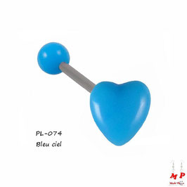 Piercing langue coeur bleu ciel en acrylique