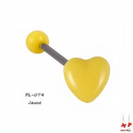 Piercing langue coeur jaune en acrylique