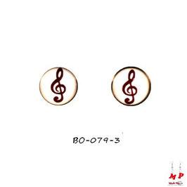 Boucles d'oreilles acier logo clé de sol noire et blanche
