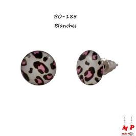 Boucles d'oreilles puces rondes léopards tachetées