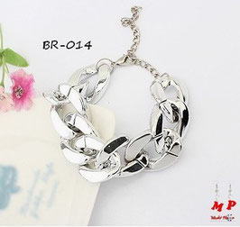 Bracelet gros maillons argentés ou noircis