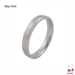 Bague anneau argenté à bordures en acier chirurgical
