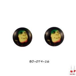 Boucles d'oreilles acier logo Bob Marley