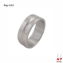 Bague anneau argenté 7,5mm en acier chirurgical pour hommes