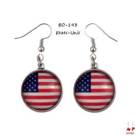 Boucles d'oreilles pendantes drapeau des Etats-Unis
