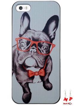 Coque iPhone 5/5s - Bouledogue à lunettes et noeud papillon rouges