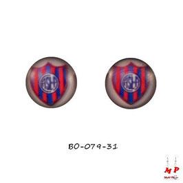 Boucles d'oreilles acier emblème du Club Atlético San Lorenzo de Almagro