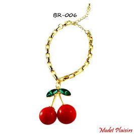 Parure collier et bracelet cerise rouge et chaine dorée