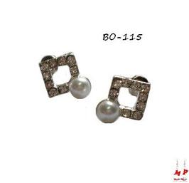 Boucles d'oreilles carrées argentées en strass et perles nacrées