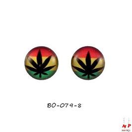 Boucles d'oreilles acier logo Feuille de cannabis noir et drapeau rasta