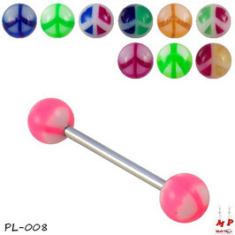 Piercing langue boules Peace and Love