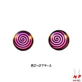 Boucles d'oreilles acier logo tourbillon noir et fond violet