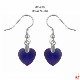 Boucles d'oreilles pendantes à coeurs en acrylique
