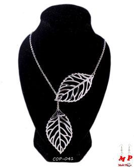 Collier deux feuilles dorées ou argentées