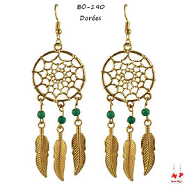 Boucles d'oreilles pendantes attrape rêves et perles turquoise