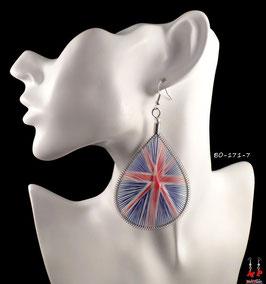 Boucles d'oreilles pendantes argentées et fils motif drapeau anglais