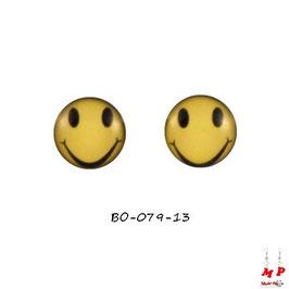 Boucles d'oreilles acier logo smiley jaune