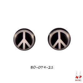 Boucles d'oreilles peace and love noires et blanches