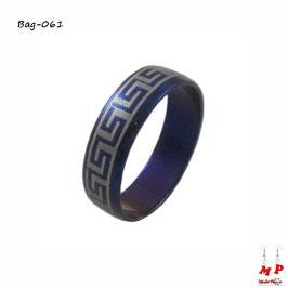 Bague bleue métal et argentée à labyrinthe en acier chirurgical