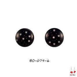 Boucles d'oreilles acier logo étoiles blanches sur ciel noir