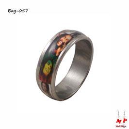 Bague anneau argenté Bob Marley en acier chirurgical
