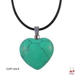 Collier à pendentif coeur en pierre turquoise