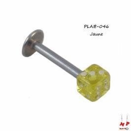 Piercing labret dé jaune acrylique