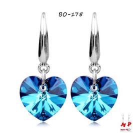 Boucles d'oreilles pendantes coeurs bleus