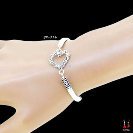 Bracelet argenté tour de bras coeur ou noeud papillon en strass