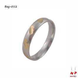 Bague anneau argenté et doré en acier inoxydable pour femmes