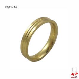 Bague anneau doré en acier chirurgical
