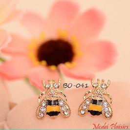 Boucles d'oreilles abeilles dorées et strass