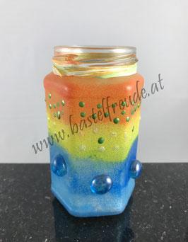 Glas orange blau
