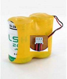 Pacco batterie SAFT D 2LSH20 con doppia alimentazione 3,6V + 3,6V  con connettore compatibile   antifurti TECNOALARM