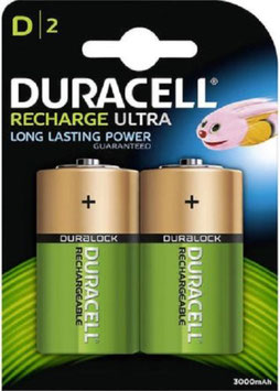 2 BATTERIE  TORCIONE D  RICARICABILI  Ni-MH     3000  mAH   DURACELL