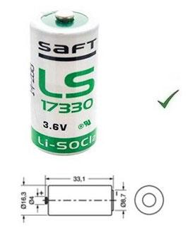 PILA  2/3 A  SAFT  LS17330  LITIO 3,6V
