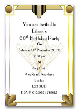 Art Deco Personalised Birthday Invitations ~ Invite with envelopes ANY AGE, Ref BD85
